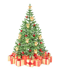 Decorated Christmas tree with many gift boxes isolated on white