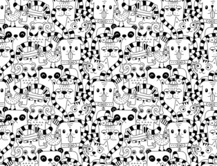 Seamless pattern with cute funny animals