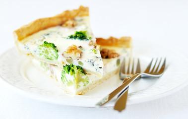 Broccoli, blue cheese and walnut pie