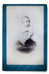 Antique Portrait of a little boy. Made in a studio. Vintage