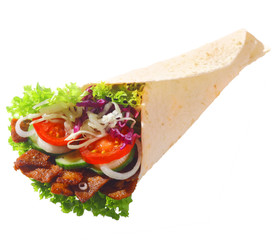 Döner with fresh salad and meat