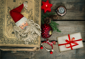 vintage christmas decoration with greetings card