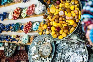 Colorful gemstones on sale at a flea market in Jerusalem,Israel