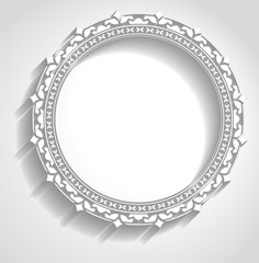 Round frame in cut of paper style