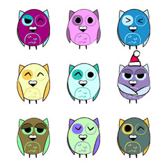 Colorful set Christmas owls