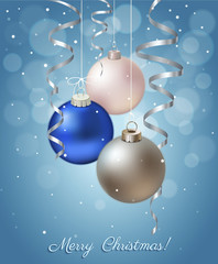 Christmas Background with Balls and Ribbons