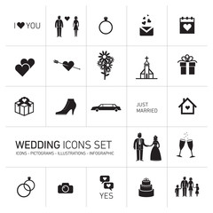 vector wedding icon set black on white background