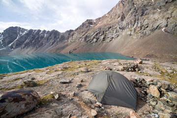 Wall Mural - Turist tent at Ala-Kul lake. Tien Shan, Kyrgyzstan