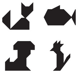 Pets symbols black and white