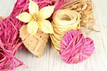 Decorative straw for hand made, flower and heart of straw,
