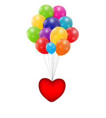 Color Glossy Balloons with Heart Background Vector Illustration