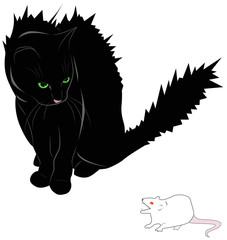 Frightened cat and mouse - monster