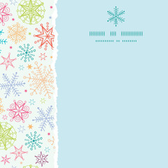vector Colorful Doodle Snowflakes Square Torn Frame Seamless
