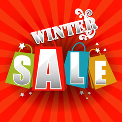 Winter Sale poster with percent discount.