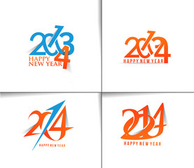 Set of  new year 2014 text design.