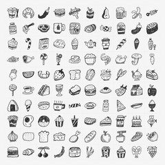 doodle food icons set