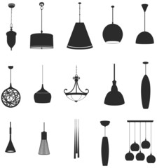 Sets of silhouette lamps 2, create by vector