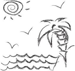 vector monochrome sketch of tropical island