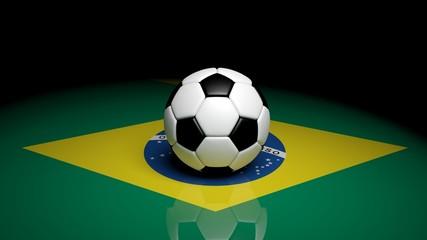 Soccer ball on Brazilian flag