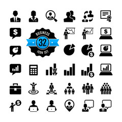 Office people icon set. Business, career, finance