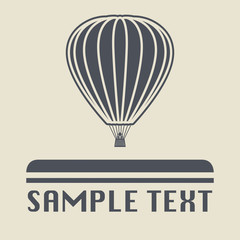Hot air balloon icon or sign, vector
