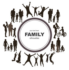 Young family concept. Frame with family silhouettes.