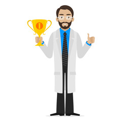 Scientist holds cup first place