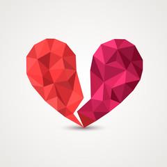 Broken heart in origami style. Vector Illustration.