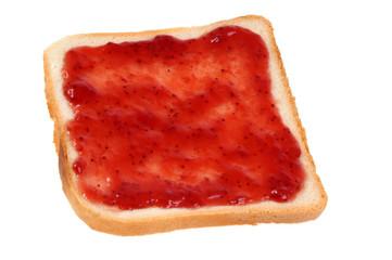 Pain de mie et confiture de fraise