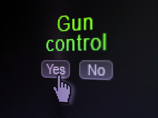 Security concept: Gun Control on digital computer screen