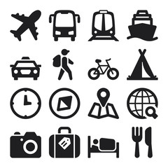 Travel flat icons. Black