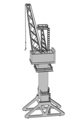 cartoon image of harbor crane