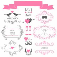 Vector set of design elements  for wedding card