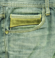 jeans.Empty back pocket of jeans