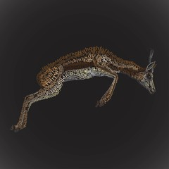Illustration antelope jumping from the font