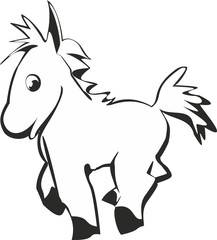 Vector illustration. Cartoon funny cute silhouette of horse