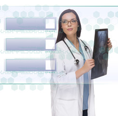 Female Doctor or Nurse Holding X-Ray Reading Blank Button Panel