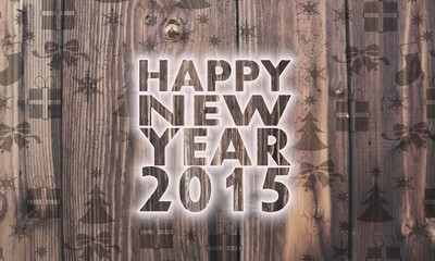 wooden happy new year symbol with presents