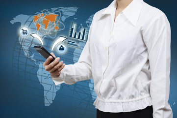 Wall Mural - Businessman holding a smartphone. Concept for business communica