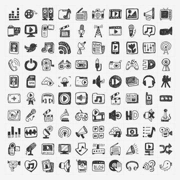 doodle media icons set