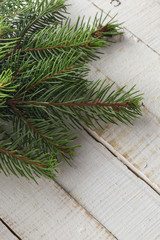 Spruce on wooden background.