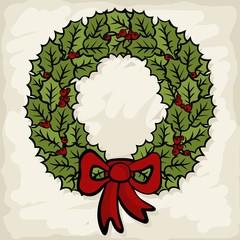 zielony wieniec z kokardą świąteczna ilustracja