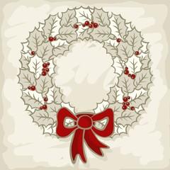 jasny srebrny wieniec z kokardą świąteczna ilustracja
