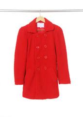 female red coat on hanger