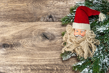Santa Claus christmas decoration with pine tree branch