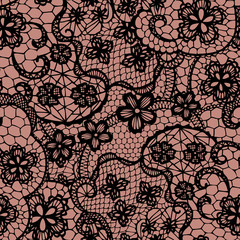 Lace black seamless pattern with flowers. Vector illustration.