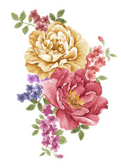 watercolor illustration flower in simple white background