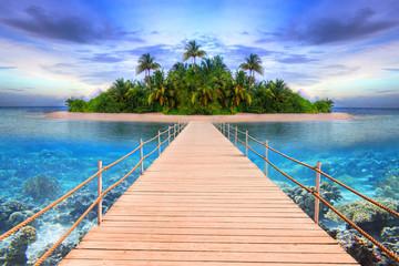 Obraz Pier to the tropical island of Maldives - fototapety do salonu