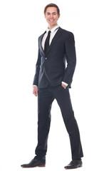 Full body portrait of a smart businessman smiling