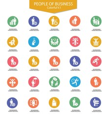 Set of Businessman icons,Colorful version,vector